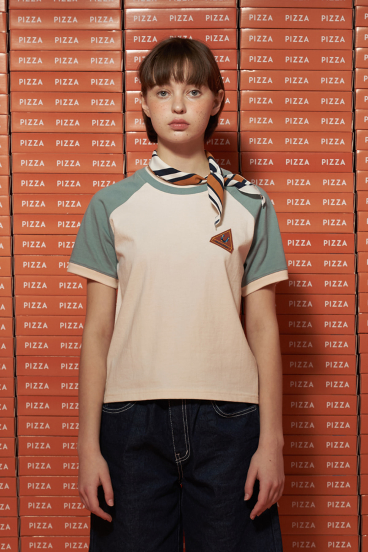 COLOR BLOCK CROP T SHIRT / CREAM