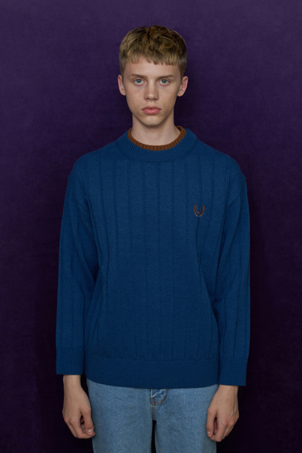 DOUBLE NECK KNIT / BLUE
