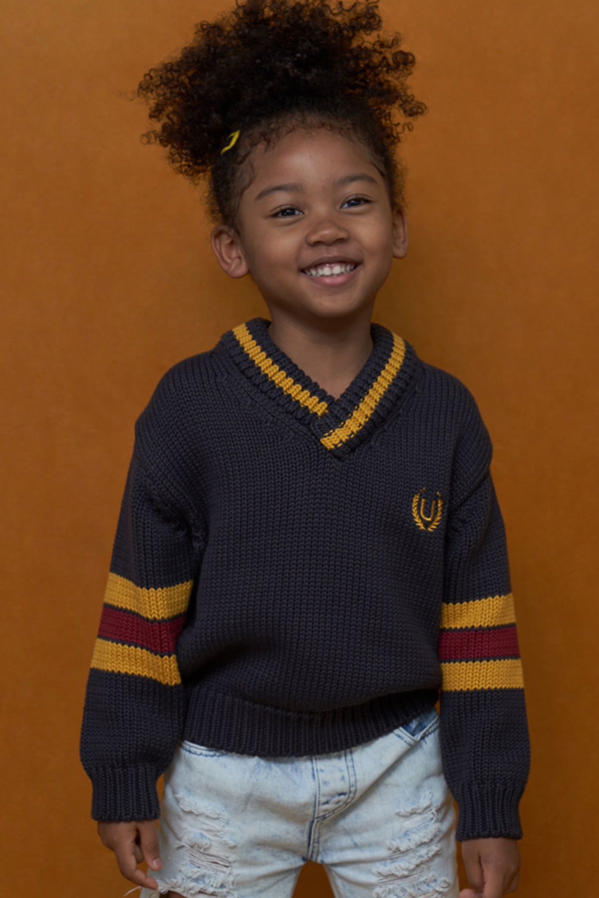 KIDS V NECK KNIT / CHARCOAL
