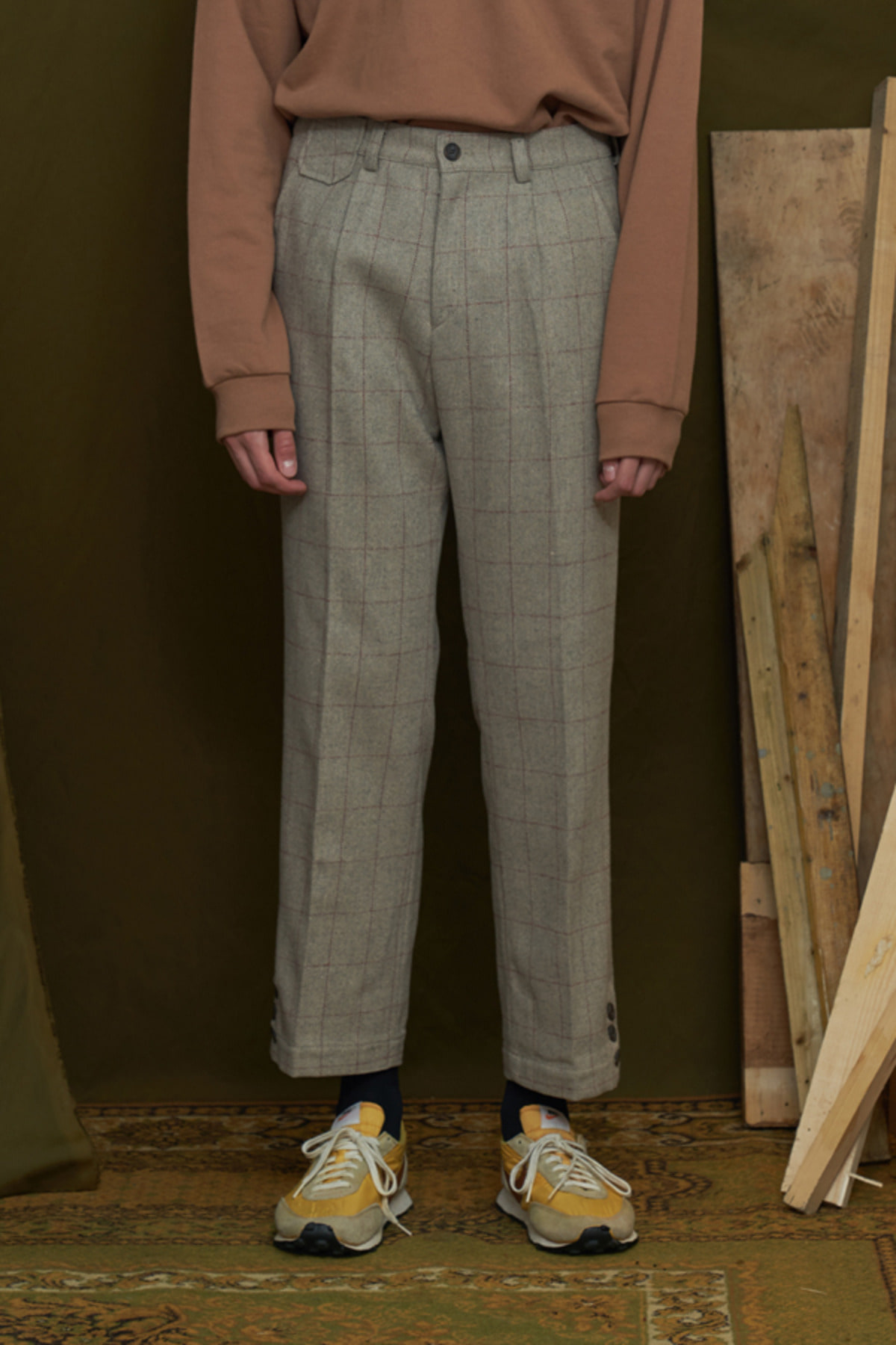 WOOL CHECK TROUSERS / GREY