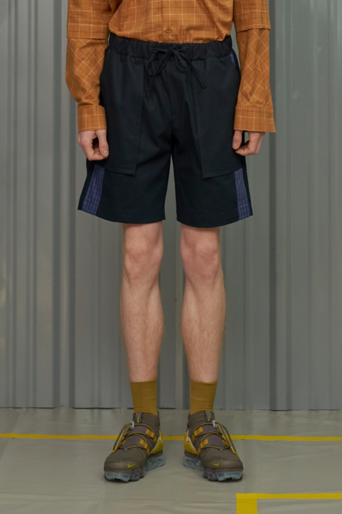 CHECK BLOCK HALF BANDING PANTS / NAVY