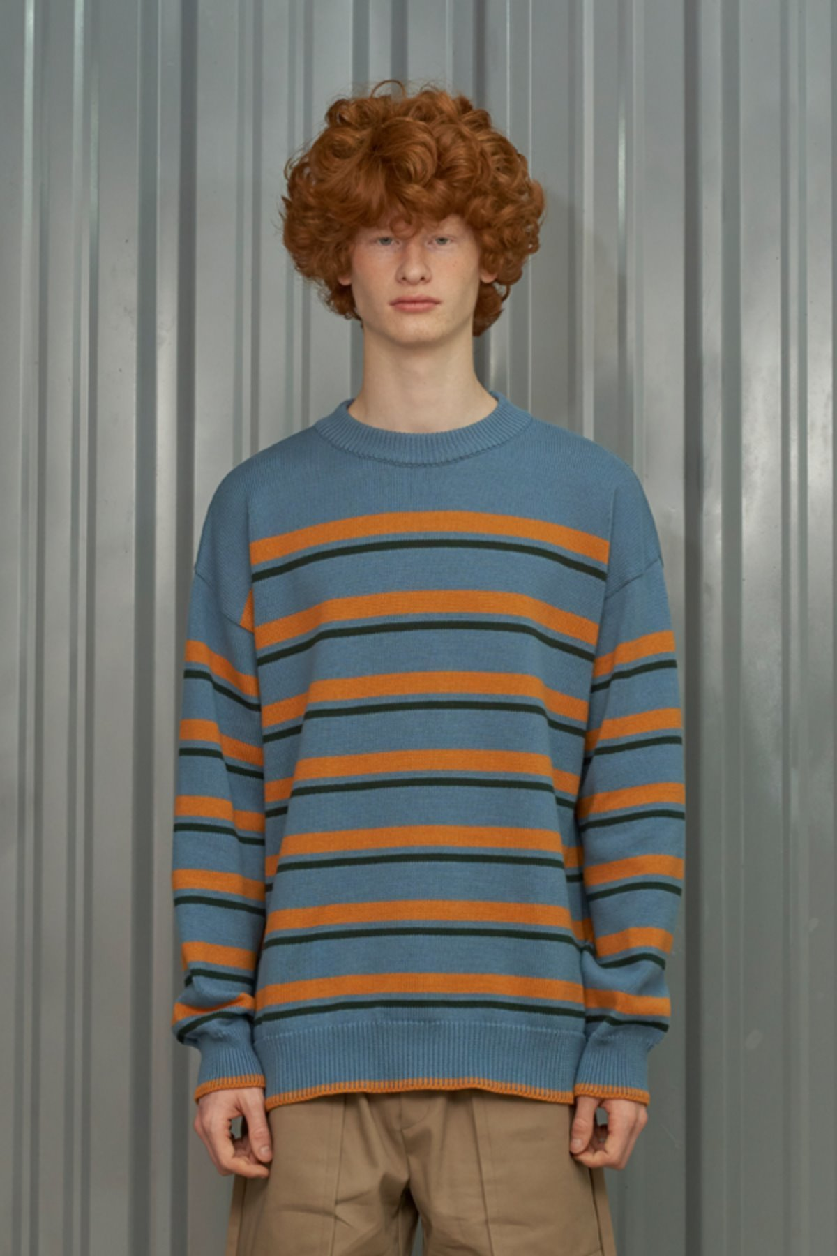STRIPE ROUND KNIT / BLUE