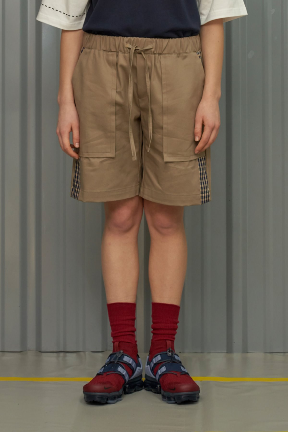 CHECK BLOCK HALF BANDING PANTS / BEIGE