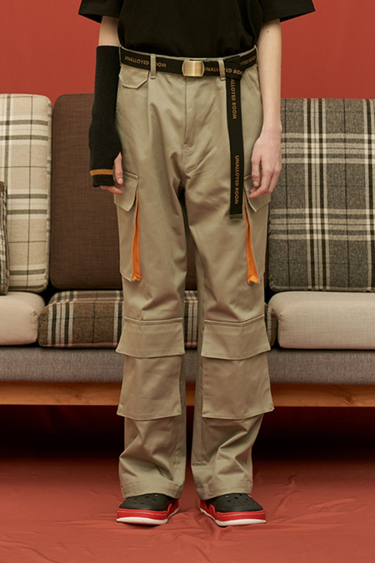 COTTON WIDE CARGO PANTS / GREY