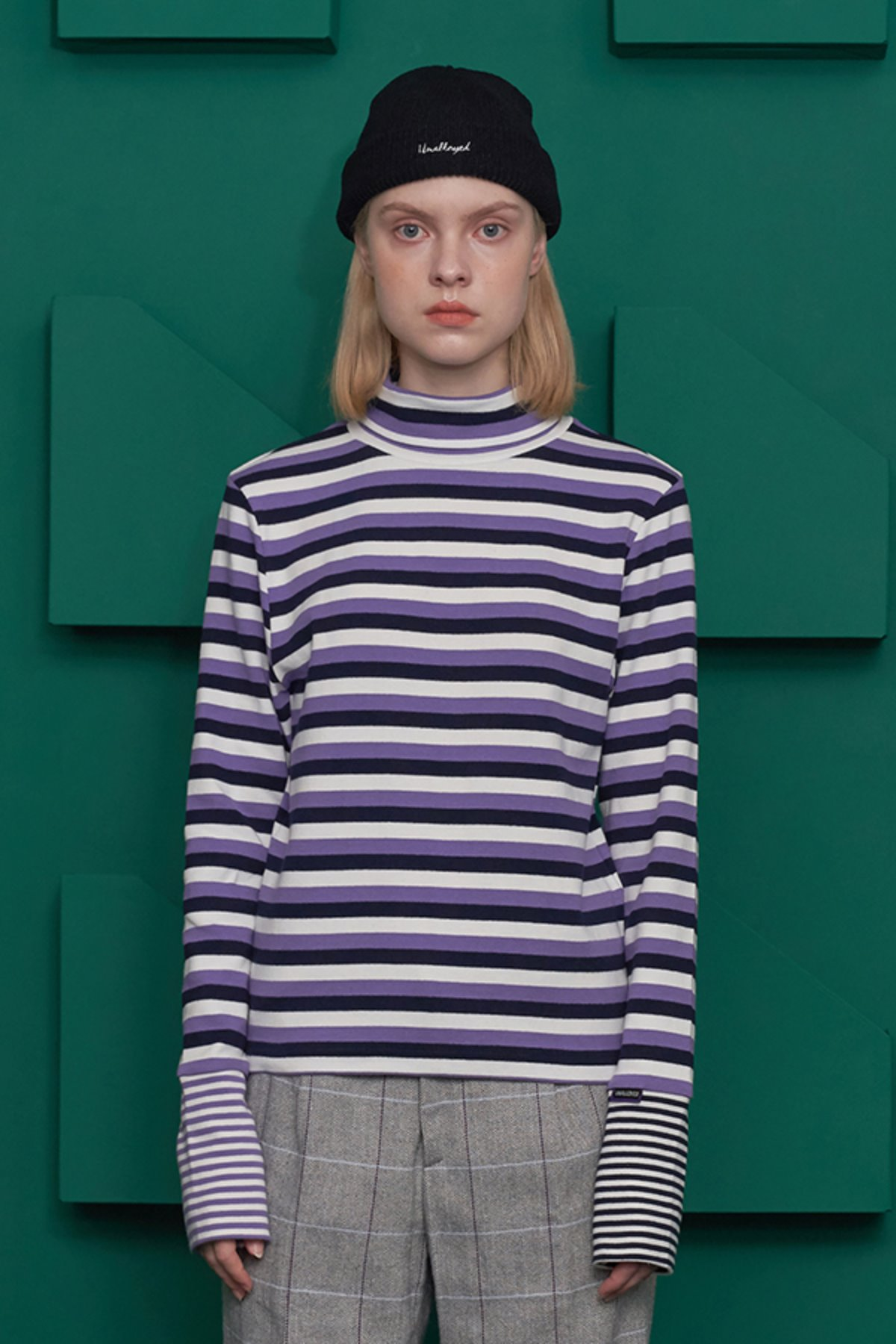 STRIPE TURTLENECK T SHIRT / PURPLE