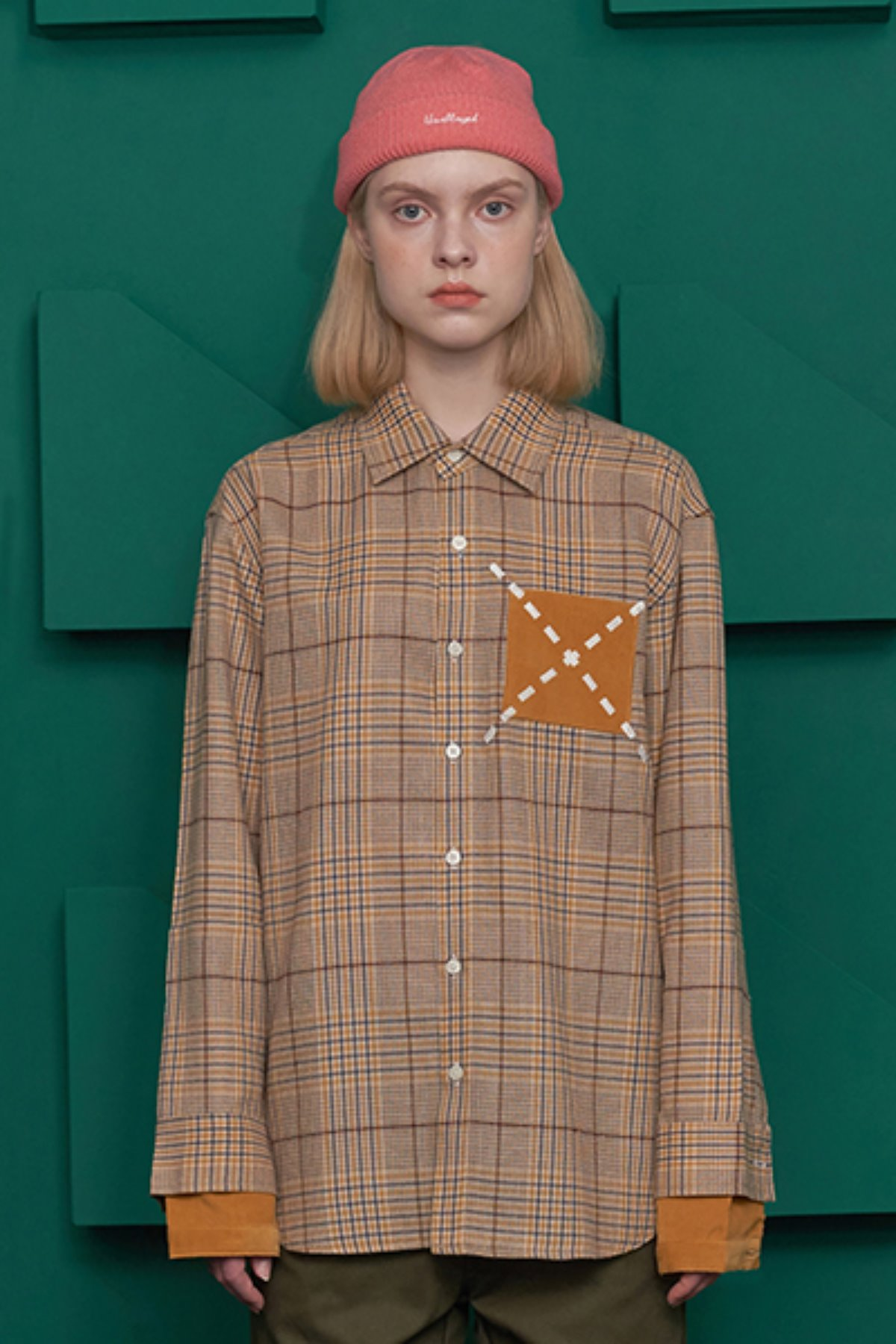 CUFF LAYERED CHECK SHIRT / YELLOW