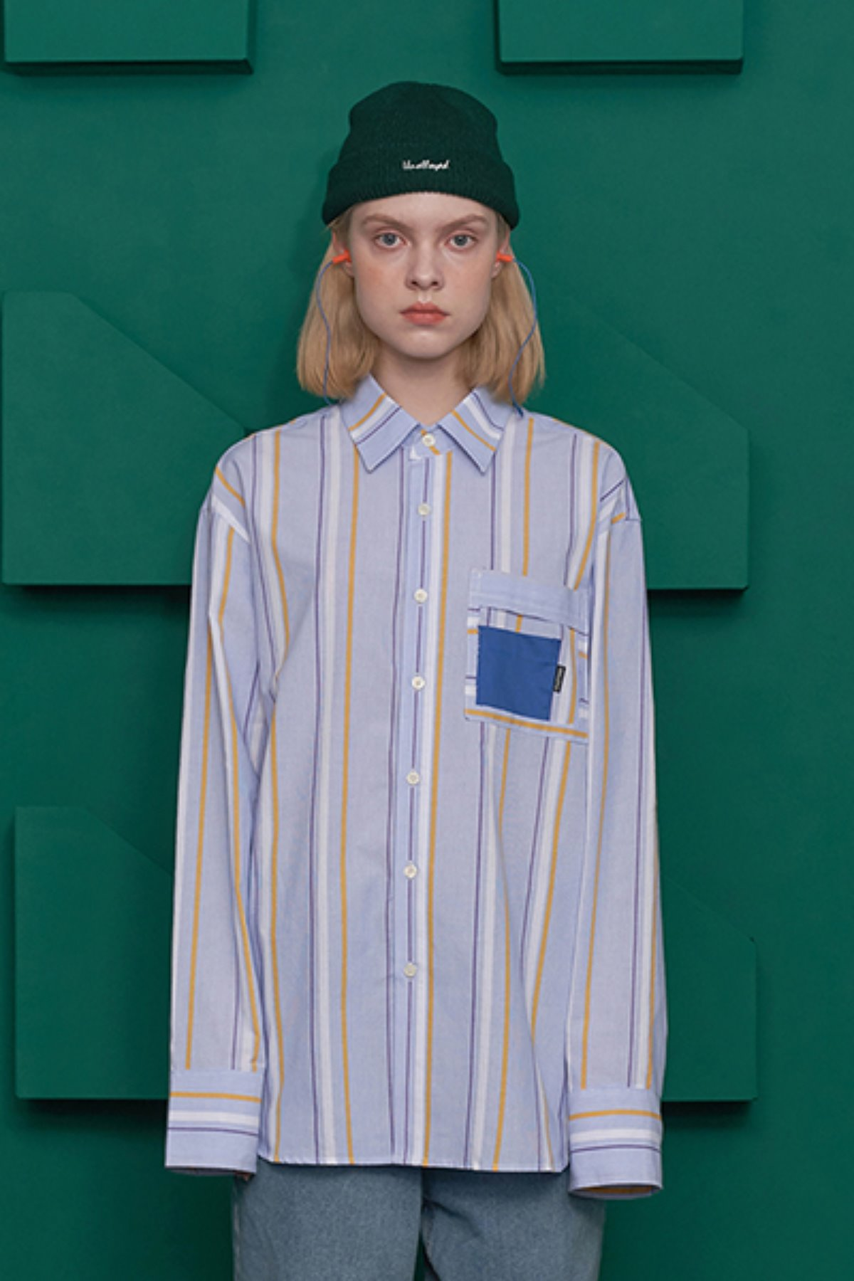 REWORK POCKET STRIPE SHIRT / BLUE