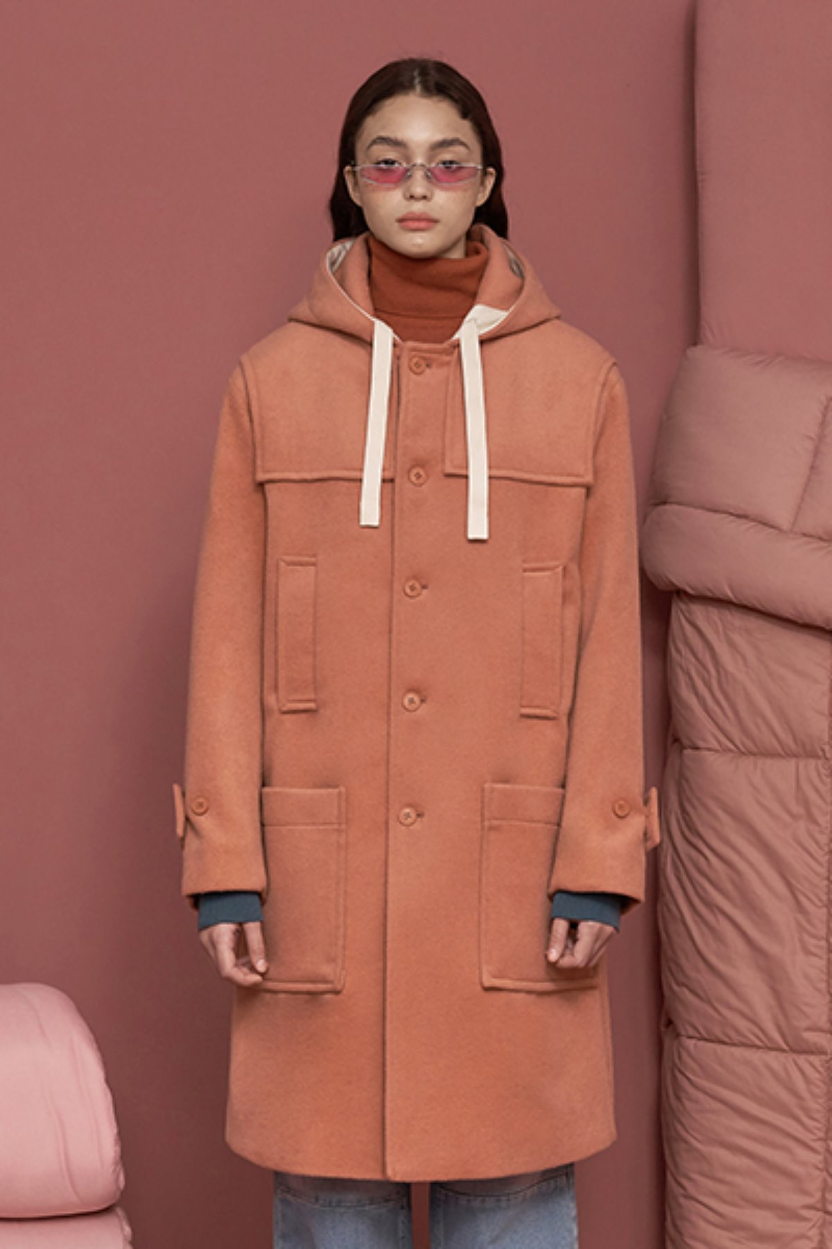 STRING DUFFLE COAT / PINK