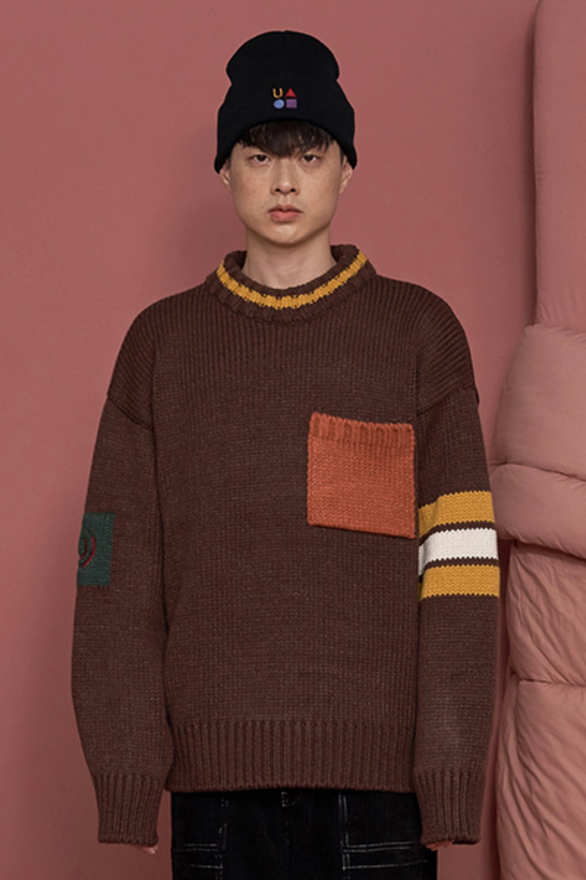 COLOR ROUND KNIT / DARK BROWN