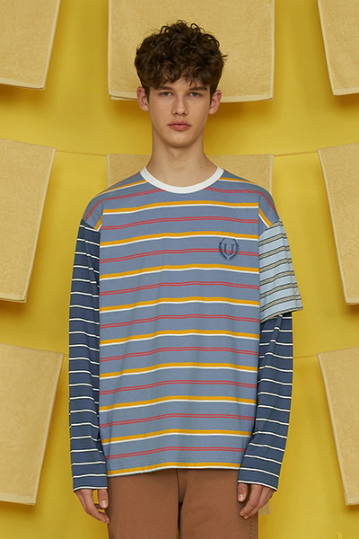 HALF SLEEVE LAYERED STRIPE T SHIRT / BLUE