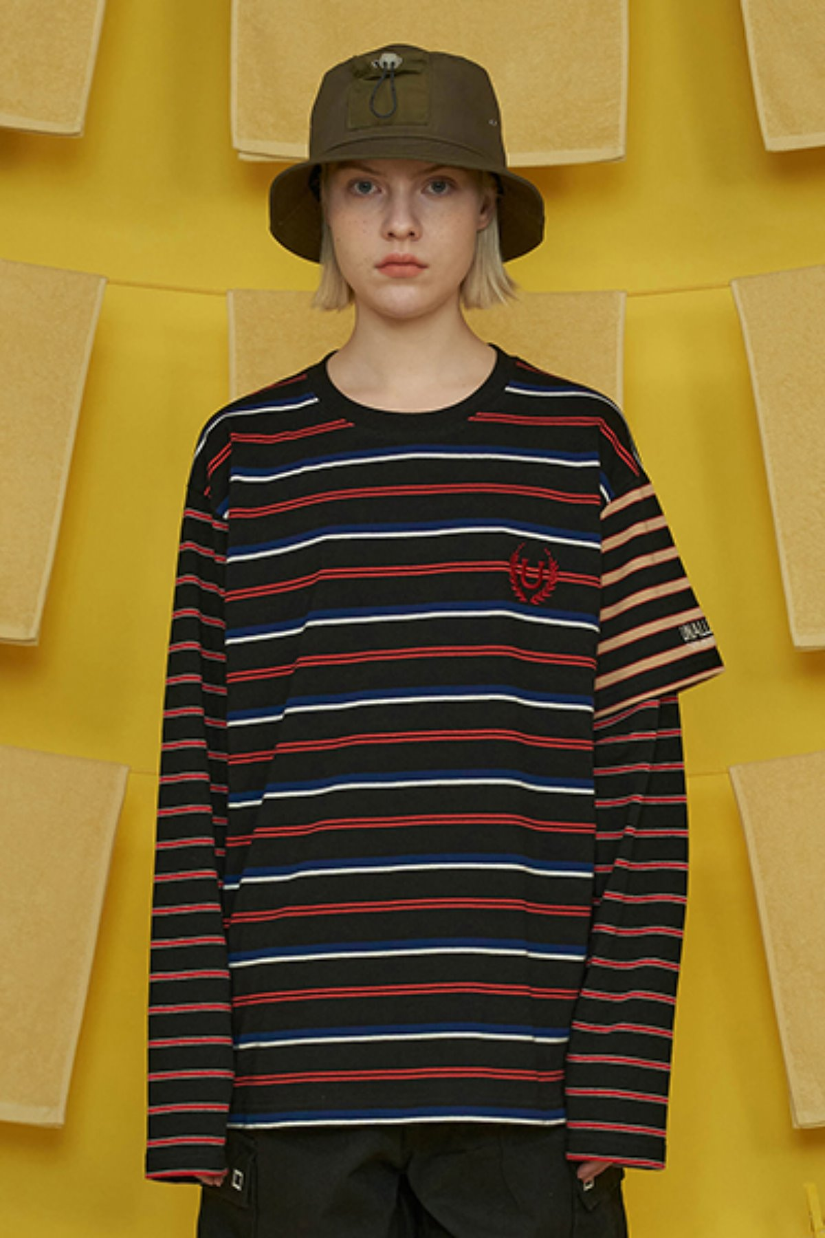 HALF SLEEVE LAYERED STRIPE T SHIRT / BLACK
